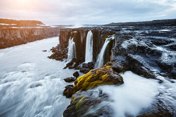 Wall Mural - Impressive view of famous Selfoss waterfall. Location place Vatnajokull National Park, Iceland, Europe.