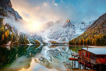 Wall Mural - Dramatic scenery of alpine lake Braies (Pragser Wildsee). Location Dolomite Alps, Italy, Europe.