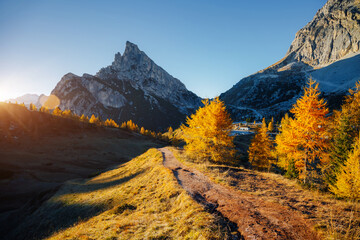 Wall Mural - Majestic view of the Mt. Sass de Stria from Falzarego pass. Location Dolomitie alps, Italy, Europe.