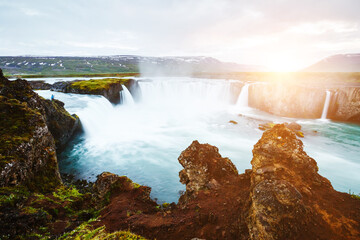 Wall Mural - Amazing view of famous Godafoss cascade. Location place Bardardalur valley, Iceland, Europe.