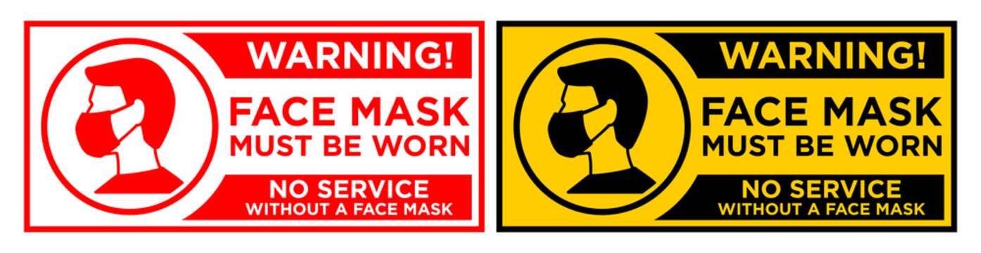 Warning sign Face mask must be worn before entering.No service without a face mask. Horizontal warning signage for restaurant, cafe and retail business. Illustration, vector on transparent background