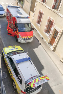 SAINT JUNIEN, FRANCE - AUGUST 19, 2018 : French ambulance and resuscitation arrived to call the patient