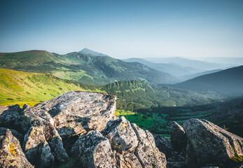 Wall Mural - Beautiful alpine highlands in morning light. Location place Carpathian mountains, Ukraine.