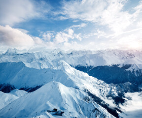Wall Mural - Sunny winter day in skiing area. Location place famous ski resort Ischgl/Samnaun.
