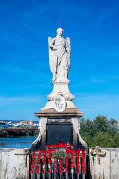 Statue of the Archangel San Rafael on the Roman Bridge in Cordoba