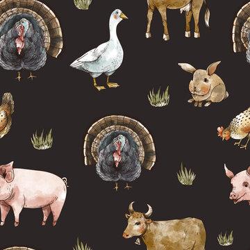Farm animals seamless pattern. Goose, cow, chicken, pig, haystack. Rustic vintage texture