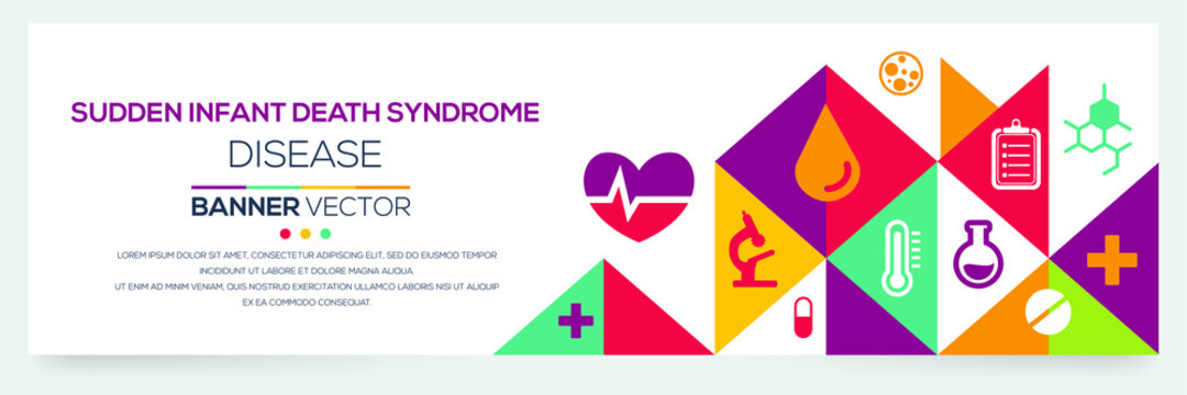 Creative SIDS (Sudden Infant Death Syndrome)) disease Banner Word with Icons ,Vector illustration.