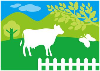 牧場の牛 Wall mural