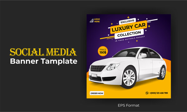 Car sales social media banner design template.