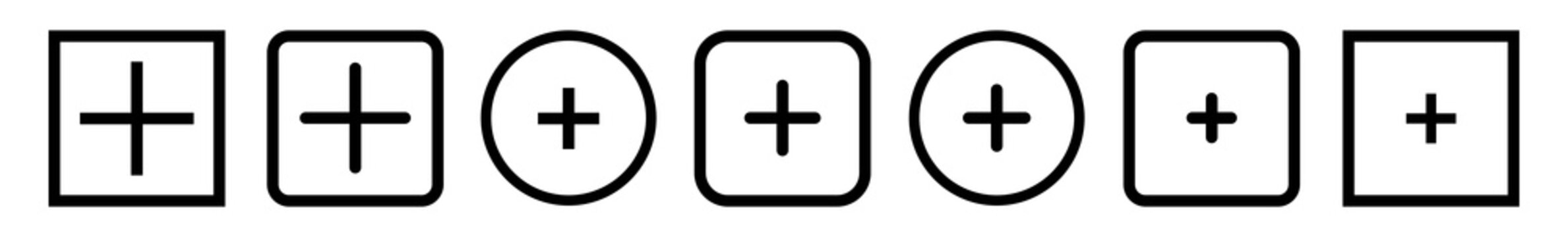 Add Plus Icon Black   Addition Buttons   Positive Symbol   Additional Logo   Cross Icons Sign   Isolated   Variations