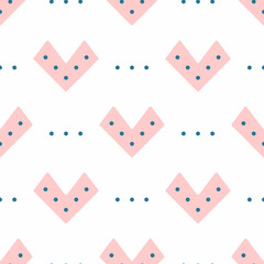 Cute seamless pattern with unusual hearts and dots. Girly print. Simple vector illustration.