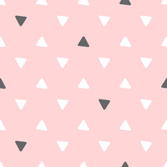 Simple seamless pattern with repeating triangles. Cute girly vector illustration.