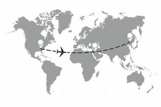 The plane and its track on the world map. Travel to World. Hand drawn plane and its track on the world map. The airplane is in a dotted line. The waypoint is for a tourist trip. and his track. Vector