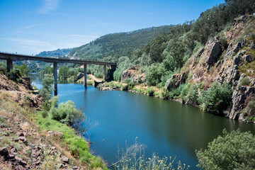 beautiful mountain landscape. big bridge over the river. beauty of the mountains in portugal. travel to the picturesque corners of europe