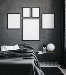 Photo sur Plexiglas Dinosaurs Mock up posters gallery at home, black luxury interior, 3D render