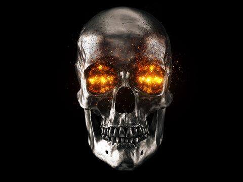 Metallic skull with red hot burning eyes