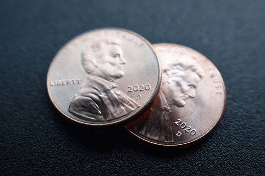 2020 Pennies Close Up With Matte Black Background