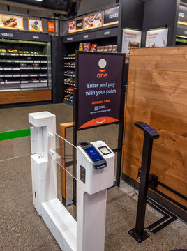 Seattle, Washington, USA – October 7, 2020  Amazon Go introduces palm scanners to access and purchase items with no checkout