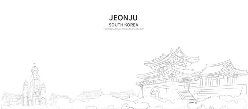 Jeonju cityscape line vector. sketch style South Korea landmark illustration with white background.