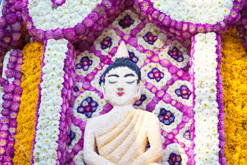 Buddha made of flowers