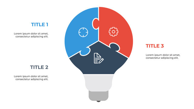 light bulb puzzle infographic element vector with 3 points, steps, options, list, processes