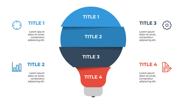 light bulb list infographic element vector with 3 points, steps, options, processes