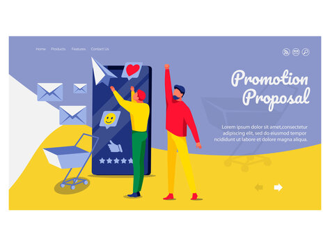 Promotion proposal landing page template. Business team working on business content strategy. Website advertising, promotion, e-commerce technologies flat vector illustration flat vector illustration
