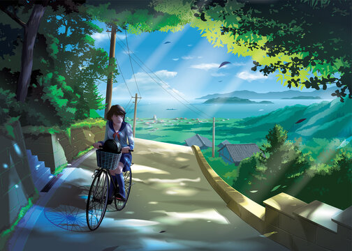 vector illustration in an anime style of a Japanese girl student rides a bicycle on a road in the countryside