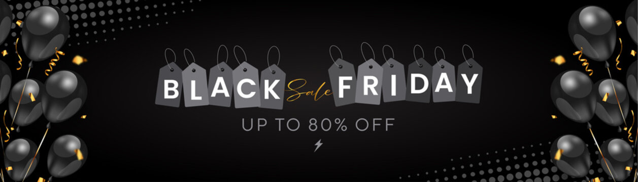luxurious Black Friday sale concept with black 3d balloons and confetti, up to 80% off (can be replaced with any value) flash sale on halftone black background.