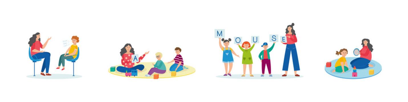 Child speech therapy set - cartoon teacher helping kindergarten children
