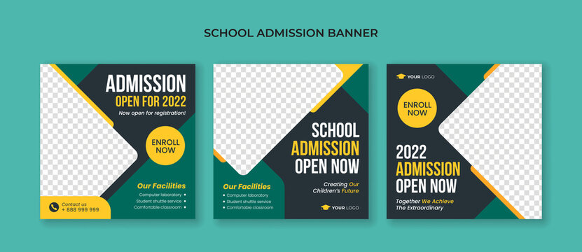 School admission square banner. Suitable for junior and senior high school promotion banner