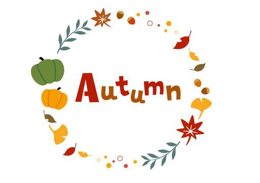秋のアイテムイラストのフレーム