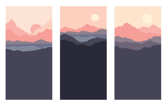 Abstract landscape with mountains and firs. Three vector illustrations, desktop wallpaper. Twilight, sunset.