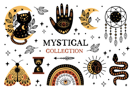 set of isolated mystical and magic elements