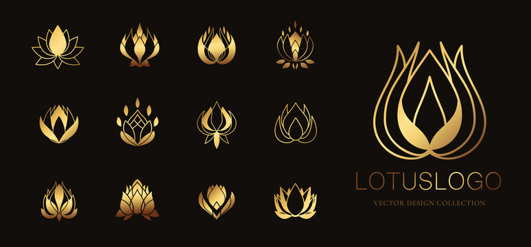 Lotus logo template vector collection. Luxury logo design for spa, beauty and cosmetic, feminine, boutique hotel. Vector illustration.