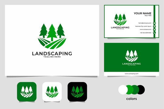 landscaping with pine tree logo design and business card