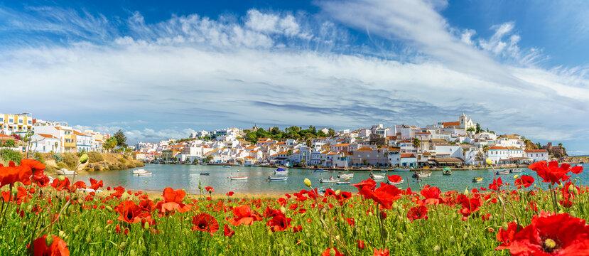 Landscape with Ferragudo village in Algarve, Portugal