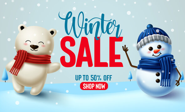 Winter sale vector banner design. Winter sale text with 3d snowman and polar bear characters for winter season promotional purposes. Vector illustration