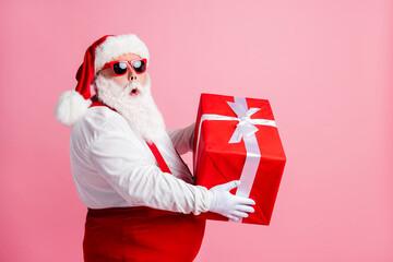 Profile side photo astonished fat santa claus hold big gift box he get x-mas christmas night spirit...
