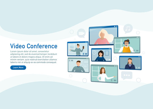 Flat illustration. Video conference. Video call between friends, chatting online by mobile app. Stay at home, work, communication remotely. Vector illustration.