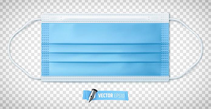 Masque chirurgical vectoriel sur fond transparent