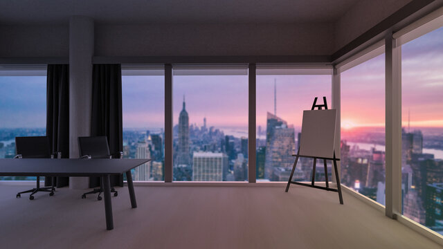 Stylish office room with blurred evening cityscape view in windows, photorealistic 3D Illustration of the interior, suitable for using in  video conference and as a zoom background.