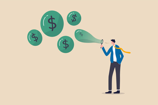 Stock market bubble, stock share price rising up from speculation from greedy investor or overvalued company concept, greedy businessman investor blowing bubbles with dollar sign money into the air.