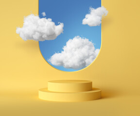 3d render, abstract background with blue sky inside the window on the yellow wall. White clouds fly inside the room with vacant podium. Blank showcase mockup with empty round stage