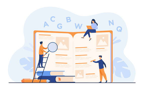 Students learning foreign language with vocabulary. Tiny people reading grammar book. Flat vector illustration for abc book, literature class, knowledge concept