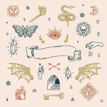 Boho witch magic symbols set. Mystic tatoo design elements. Vector illustration.