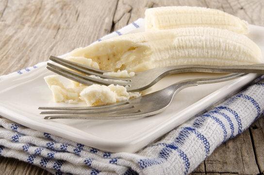 mashed banana on a plate