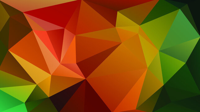 Warm autumn vector background. Colored triangle