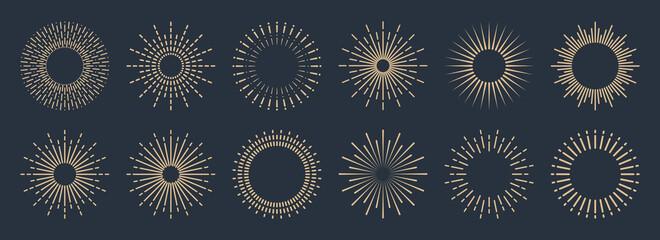 Obraz Vintage sunburst collection. Bursting golden sun rays. Fireworks. Logotype or lettering design element. Radial sunset beams. Vector illustration. - fototapety do salonu