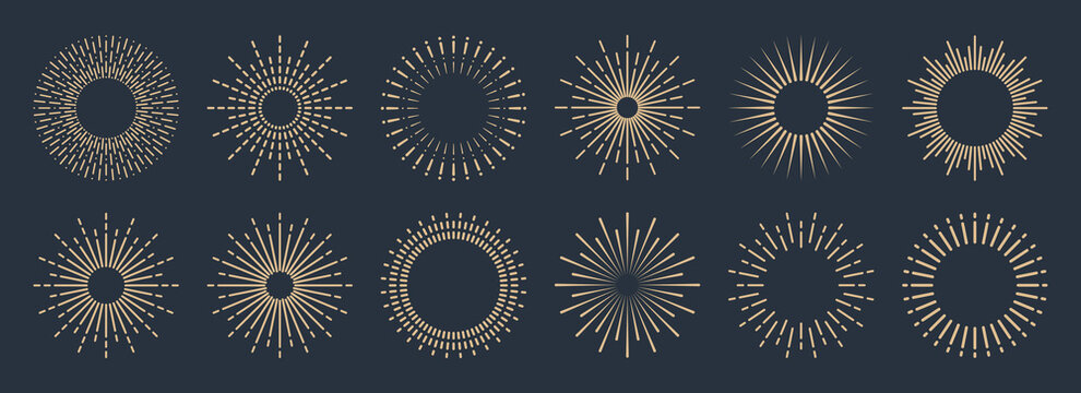 Vintage sunburst collection. Bursting golden sun rays. Fireworks. Logotype or lettering design element. Radial sunset beams. Vector illustration.